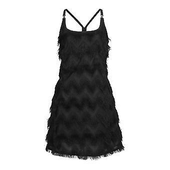 Chic Star Fringe mini kjole i sort