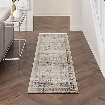 Quarry Traditional Distressed Runner Rugs Qua07 In Beige Grey By Nourison