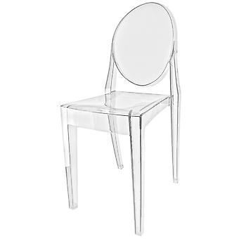Fusion Living Crystal Clear Ghost Style Plastic Victoria Dining Chair - Set of 6