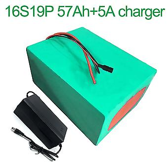 Battery With Charger 5a 57ah60v Li-ion 18650 Rechargeable Electric Two Three-wheeled Motorcycle Bike Ebike Accept Customization 16s19p 320 * 210 * 140