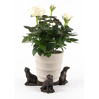Potty Feet Decorative Badger Themed Plant Pot Feet Antique Bronze Color 3pc