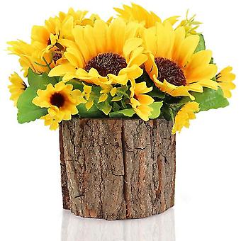 Artificial Flowers Fake Flowers Mini Potted Artificial Plants With Bark Pot