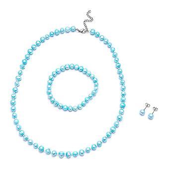 Beaded, Bead String, Stud Jewellery Set for Women Pearl in Steel 0.003ct