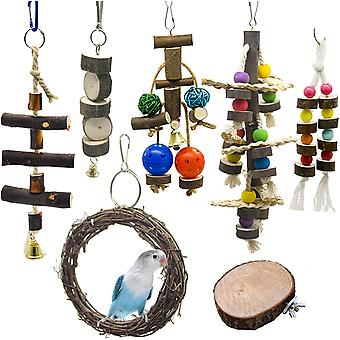 7 Pieces Bird Toys, Chew Toys, Animal Decoration Cages With Bell For Parakeets, Cockatiels, Starling, Macaw And Small Pet