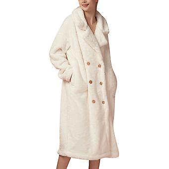 Mile Women's Double-breasted Lapel Solid Color Plus Velvet Nightgown