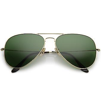 Premium duże klasyczne matowy Metal Aviator Okulary z zielonym przyciemniane szkło soczewka 61mm