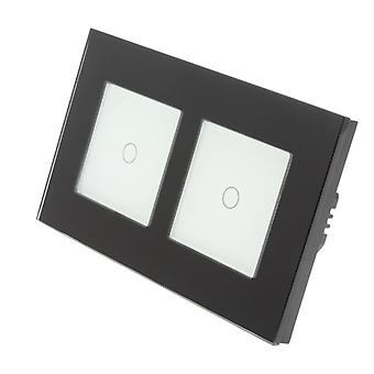 I LumoS Black Glass Double Frame 2 Gang 1 Way Touch Dimmer LED Light Switch White Insert
