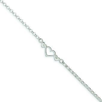 925 Sterling Silver Solid Polerad Platt tillbaka Triple Love Heart Ankle Armband 10 tums Spring Ring Smycken Gåvor för Wome