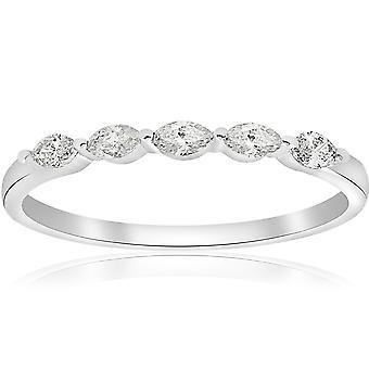 1/2ct Marquise Diamond Five Stone Wedding Ring 14K White Gold