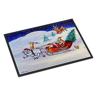 Corgi Highhacked Santa Claus Sleigh Indoor or Outdoor Mat 24x36