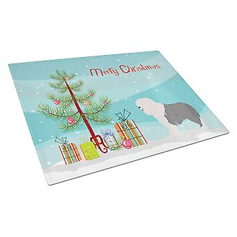 Old English Sheepdog Christmas Glass Cutting Board Large