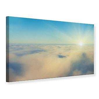 Canvas Print foto Wallaper Dawn boven de wolken