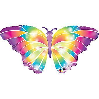 Qualatex 44 Inch lichtgevende Rainbow Butterfly vormige folie ballon