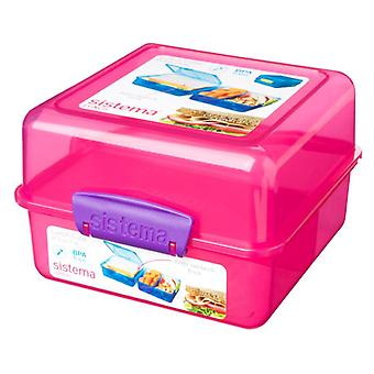 Sistema 3 Compartment 1.4L Lunch Cube Box, Pink
