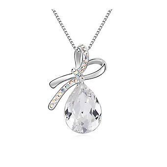 Knoop hanger versierd met witte Swarovski kristallen en wit vergulde
