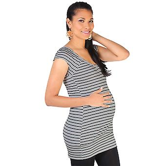 KRISP  Maternity Womens Striped Long Casual T Shirt Vest Top Pregnancy Everyday Blouse