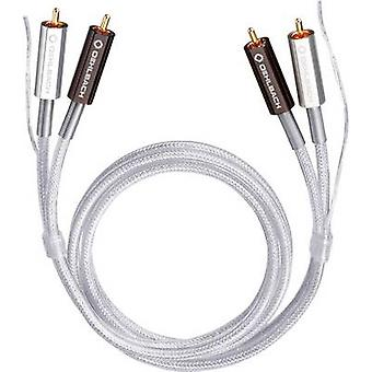 RCA Audio/phono Cable [2x RCA plug (phono) - 2x RCA plug (phono)] 1.00 m Transparent gold plated connectors Oehlbach Silver Express Plus
