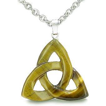 Celtic Triquetra knude magiske Amulet Tiger øje onde øjne beskyttelse beføjelser Gemstone vedhæng halskæde