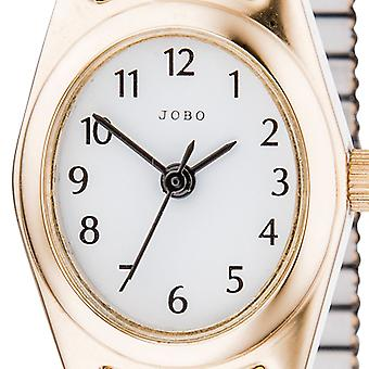 JOBO ladies wrist watch quartz analog stainless steel gold plated Crystal cable
