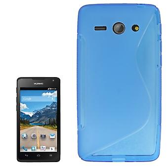 Cell phone cover silicone case (S-curve) for mobile phone Huawei Ascend Y530 Blau transparent
