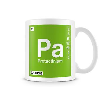 Scientific Printed Mug Featuring Element Symbol 091 Pa - Protactinium