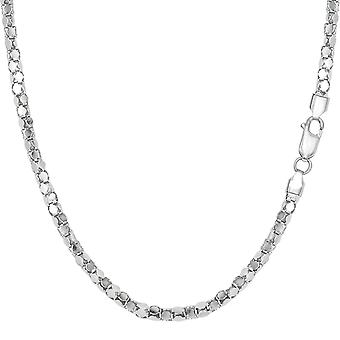 Sterling Silver Rhodium Plated Popcorn Rope Chain Necklace, 2.2mm