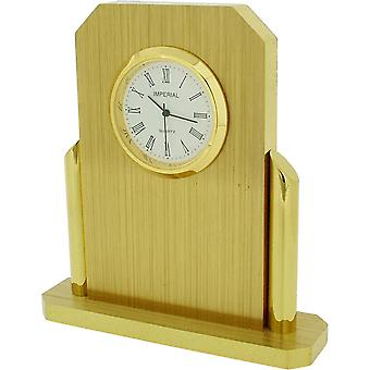 Gift Time Products Tall Desk Clock - Gold/Brown