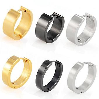 Hoop Huggie Earrings Round, Stainless Steel | 10-20 mm | Available in 3 Colours