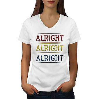 90s Alrigt Quote Women WhiteV-Neck T-shirt | Wellcoda