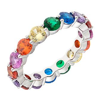 Bertha Juliet Collection Women's 18k WG Plated Stackable Rainbow Eternity Fashion Ring Size 8