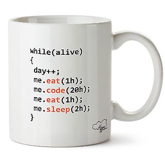 Hippowarehouse eten Code eten slaap dag van programmeur afgedrukt mok Cup keramiek 10oz