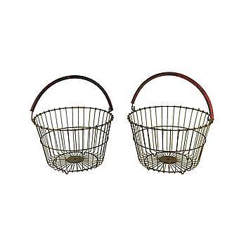 Rustikk metalltråd Bushel kurv med rød håndtak sett med 2