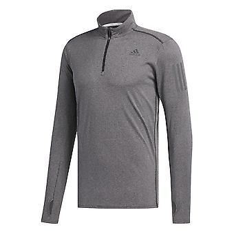 Adidas svar lang ermet 1/2 Zip Mens kjører Fitness trening skjorte