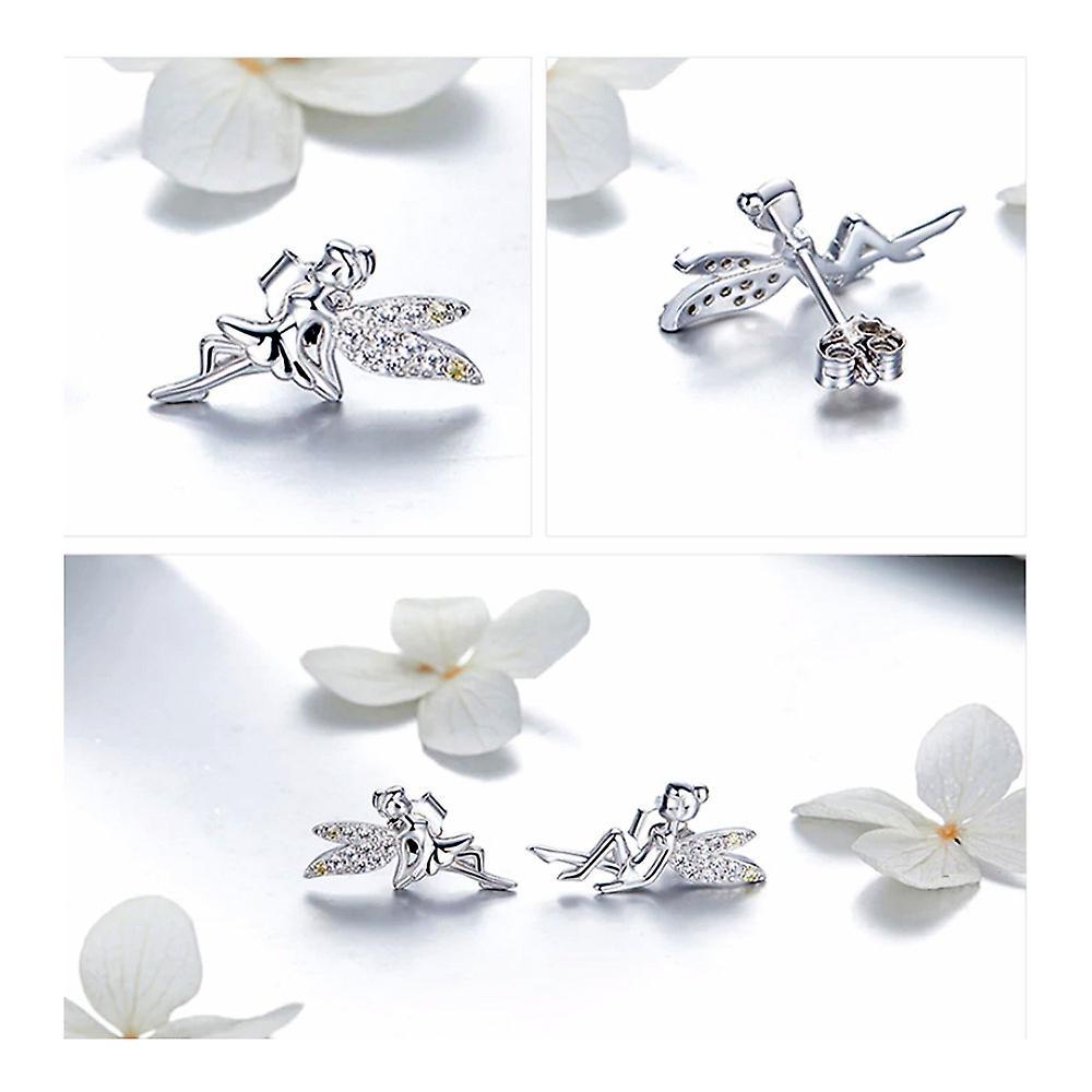 Boucles d'oreilles Femme Fée orné de Cristal de Swarovski Blanc et Argent 925 8114