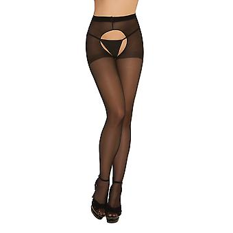 Womens Sexy Sheer Nero Crotchless collant calzetteria calze collant - 2 pack