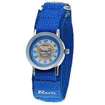 Ravel Boys Blue Emoji Face Fabric Easy Fasten Strap Watch R1507.57