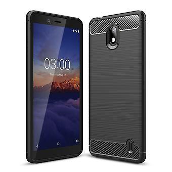 Nokia 1 plus TPU Case kolfiber optik borstat skydd Case svart