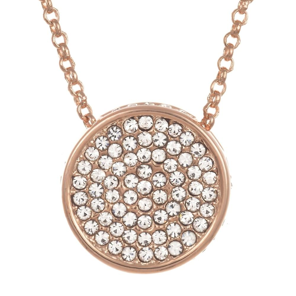 Belle & Beau Rose Gold Plated Pave Round Crystal Necklace