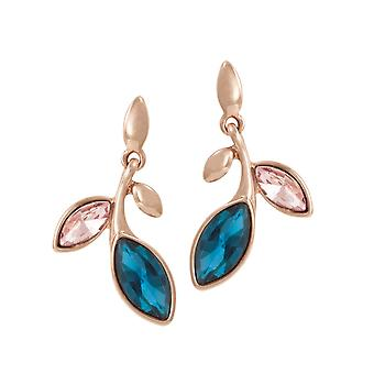 Eternal Collection Alexandria Rose And Teal Crystal Rose Gold Tone Drop Pierced Earrings