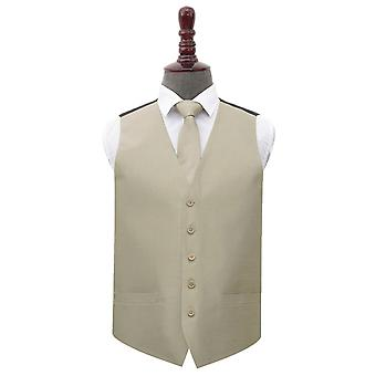 Taupe plain shantung bryllup veste & amp; Slips sæt