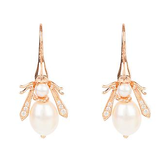Pearl Honey Bee Earring Rose Gold Hook Statement Natural Gift Silver 925 Animal