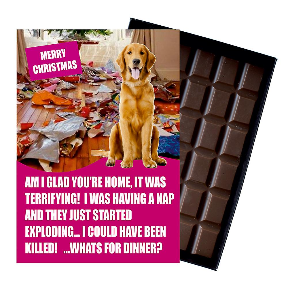 Golden Retriever Funny Christmas Gift for Dog Lover Boxed Chocolate Greeting Card Xmas Present