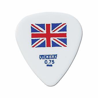 6 Pickboy Guitar Picks/Plectrums - Design Flag Union Jack White - Medium 0.75mm