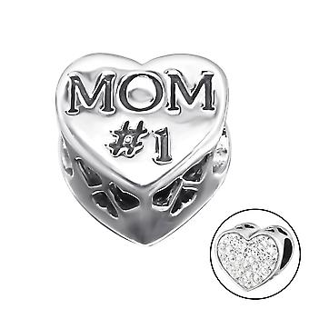 Corazón mamá - plata de ley 925 Jewelled granos - W10076X