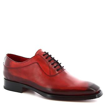 Leonardo Shoes Men's handmade oxford lace-ups shoes in red calf leather