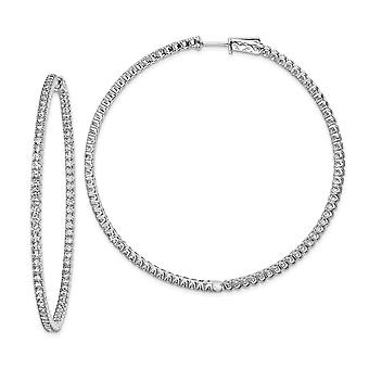925 Sterling Silver Polished Safety clasp Rhodium Plated With CZ Cubic Zirconia Simulated Diamond Hinged Hoop Earrings J