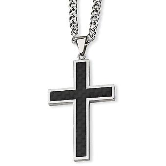 Stainless Steel Polished Engravable Fancy Lobster Closure Carbon Fiber Religious Faith Cross Necklace 24 Inch Jewelry Gi