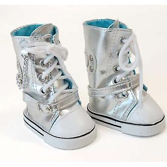 Metallic Silver Hightop Sneaker Boots for 18 Inch Dolls