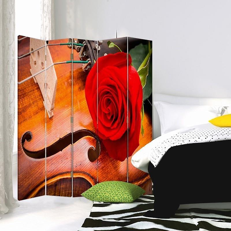 Diviseur de chambre, 5 panneaux, Double-Sided, Toile, Rose on Violin 2