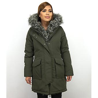 Long Parka Coat - With Faux Fur Collar - Green